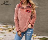 Xnxee Women Autumn Winter Faux Fur Female Zip Plush Warm Tops Streetwear Ladies Sweatshirts Clothing