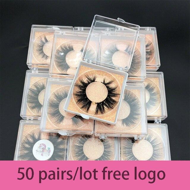 Bán buôn đặt hàng 50 cặp/lô logo tự do MIKIWI Hộp Tùy 24 Phong Cách mềm mại kịch tính kẻ Mắt 5D thực chồn tay dày lông mi