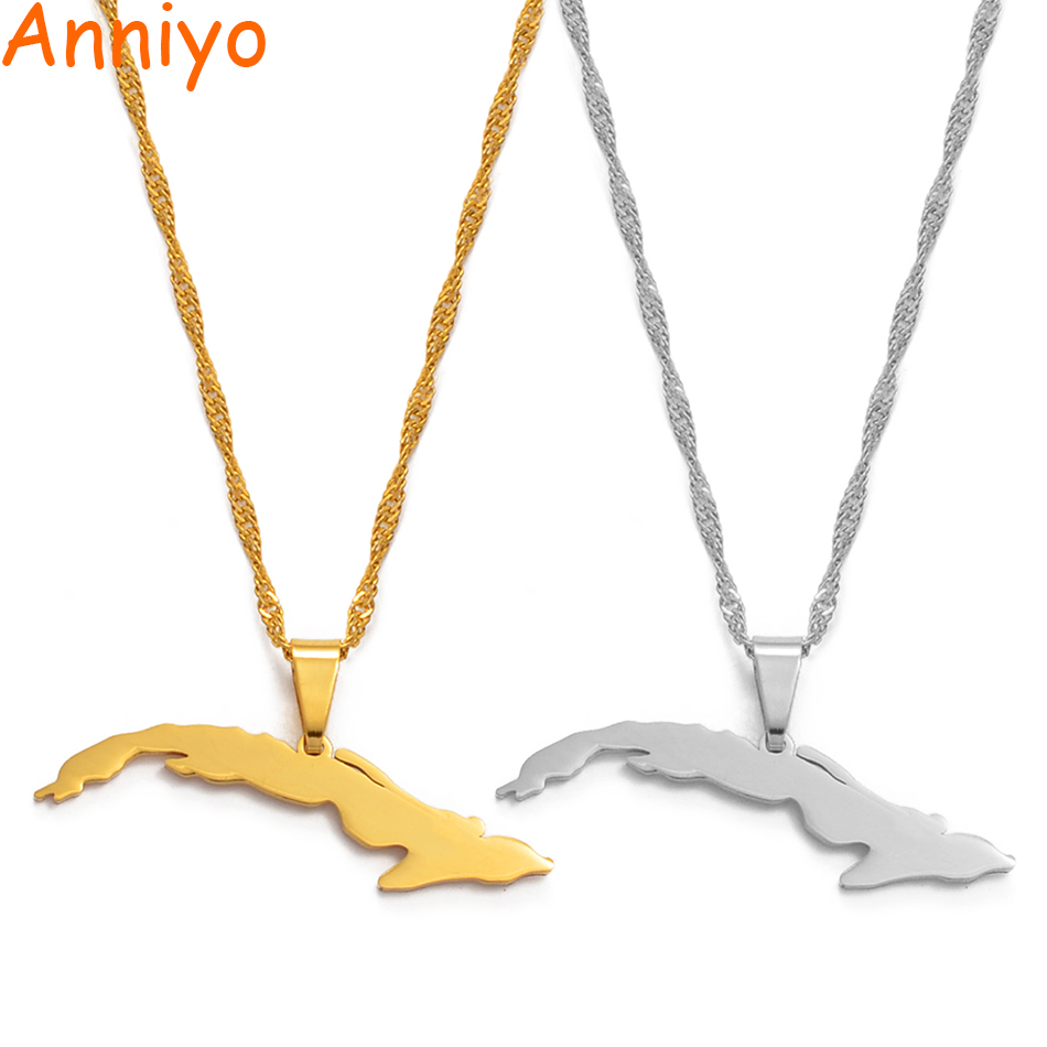 Cuba map pendant with chain in 925 silver map chain length selectable lk-02cuba