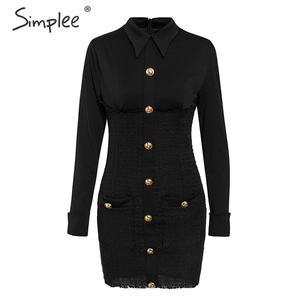 Image 5 - Simplee plus size bodycon vestido streetwear retalhos único breasted escritório vestido elegante senhoras outono blazer mini vestido