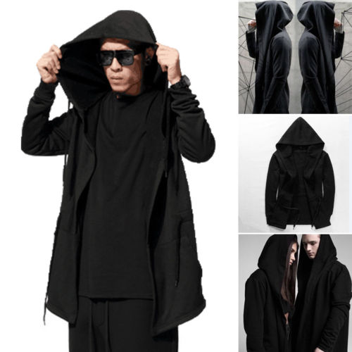 2019 Women Men Gothic Outwear Hooded Coat Long Trench Jacket Casual Cloak Cape