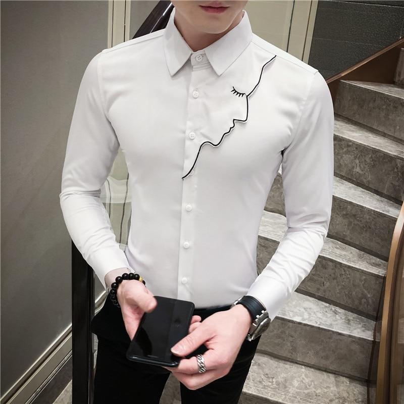 Embroidery Dress Shirt Mens Solid Color 2020 Spring Shirt Streetwear Black White Social Party Club Shirt Wedding Groom Shirt 3xl