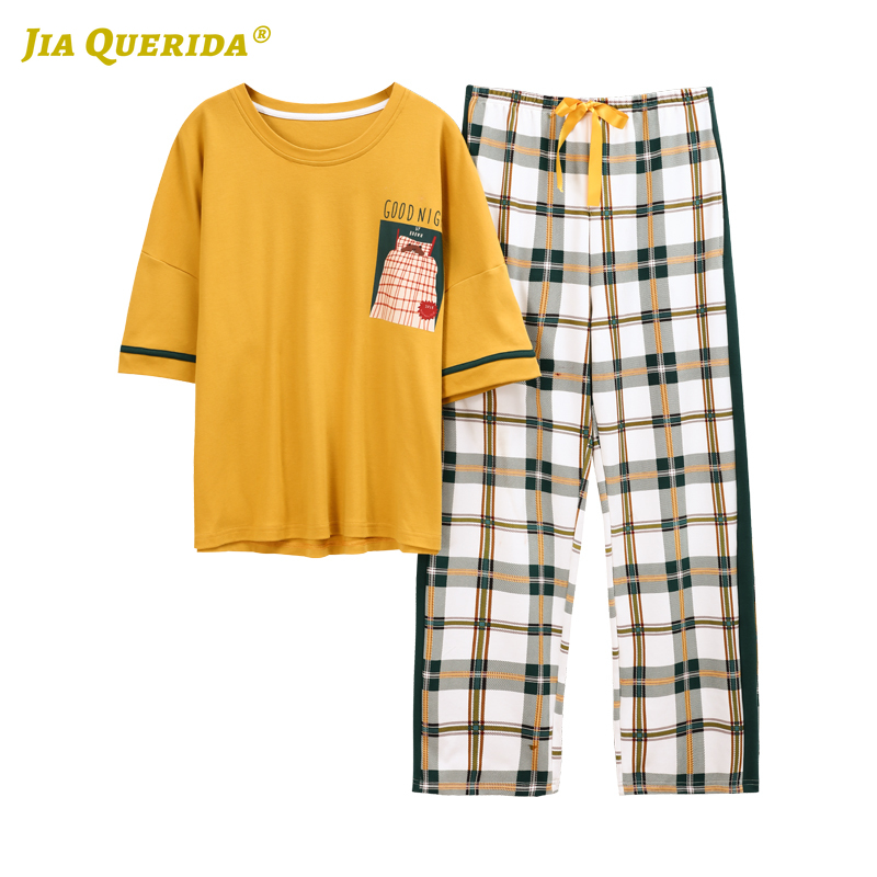 2020 New Pajamas Set Homesuit Homeclothes Short Sleeve Long Pants Woman Clothes Printing Pajamas Pj Set Crew Neck Sleepwear