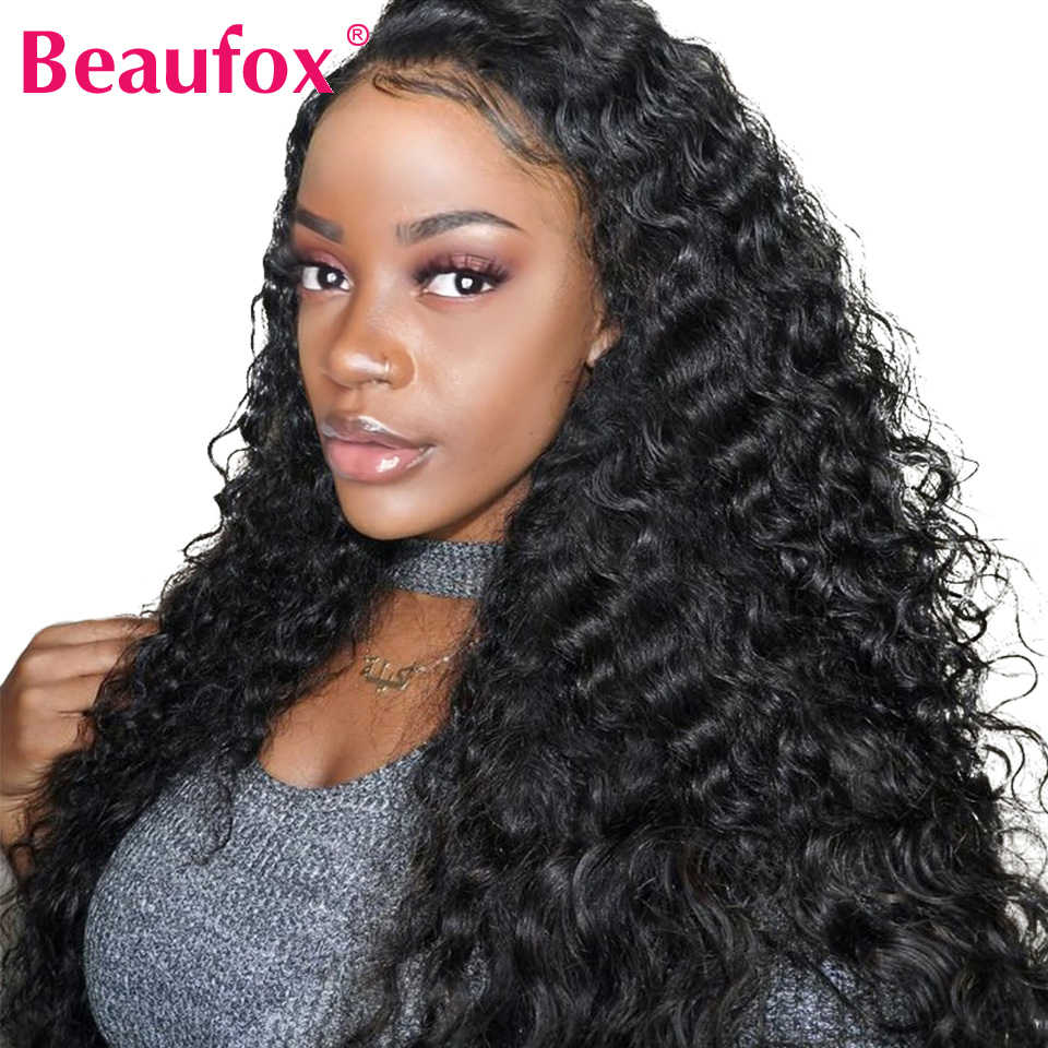 13x4 Lace Front Human Hair Wigs Brazilian Deep Wave Wig Pre Plucked Lace Wig With Baby Hair Natural Color 150% Remy Beaufox Hair