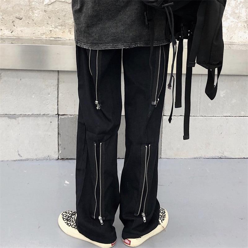 Focal20 Streetwear Solid Zipper Women Pants Casual Loose Elastic Waist Straight Leg Female Trousers Spring Autumn Lady Bottoms 7