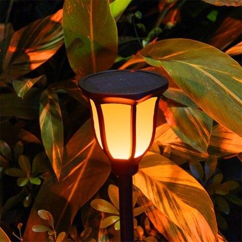 jardim solar lampada do gramado chama sensor