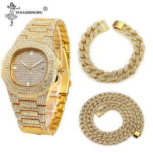 Watch Bracelet Jewelry Necklace Joyas Cuban-Chain Miami Rhinestones CZ Rapper Hip-Hop