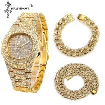 3 uds. Collar + reloj + pulsera Hip Hop Miami cadena cubana helado oro plata diamantes de imitación CZ Bling rapero hombres Joyas 1