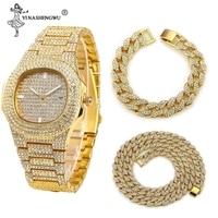 3 Pcs Halskette + Uhr + Armband Hip Hop Miami Kubanischen Kette Gold Farbe Iced Out Gepflasterte Strass CZ Bling rapper Männer Schmuck Joyas