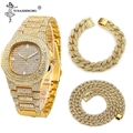 3 pçs colar + relógio pulseira hip hop miami cubana chain ouro prata gelado para fora pavimentado strass cz bling rapper joyas