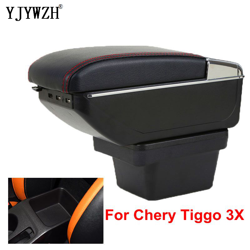 Armrest box For Chery Tiggo 3X USB Charging heighten Double layer central Store content cup holder ashtray accessories(China)