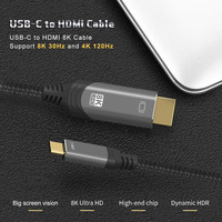 NEW USB C to HDMI-Compatible Cable Thunderbolt 3 Type C Compatible HDR 8K@30Hz 4K@120Hz for MacBook Pro,iPad Pro 2020,MacBook