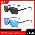 Солнцезащитные очки GXP в алюминиевой оправе для мужчин и женщин, ультралегкие поляризационные зеркальные линзы UV400, в классическом ретро ст...