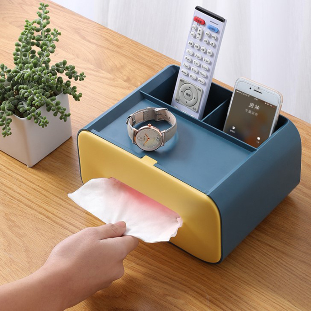 2 in 1 Car Home Office Tissue Box Desktop Controller Cosmetics Makeup Pen Phone Sundry Storage Organizer Box Shelf Holder Case image