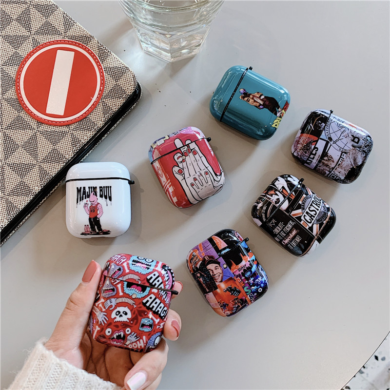 Fashion Graffiti Painting Case For Apple Airpods 2/1 Cover Retro Cartoon IMD Silicone Earphone Charging Box Case For Airpod Capa