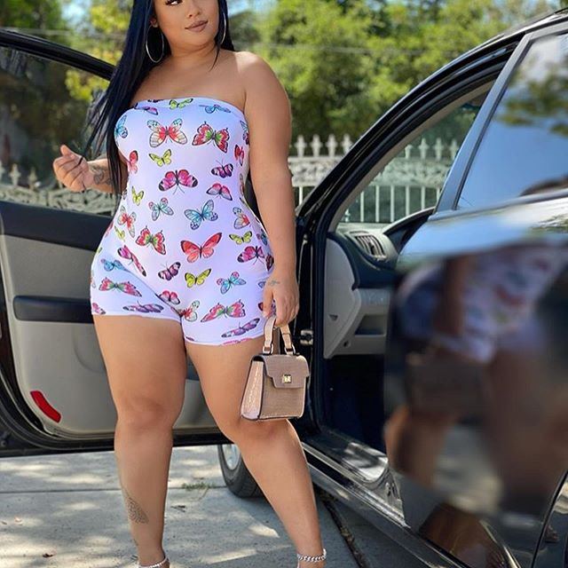 Butterfly Print Summer One Piece Overall Women Off Shoulder Sleeveless Short Playsuit Vintage Strapless Open Back Beach Outfits