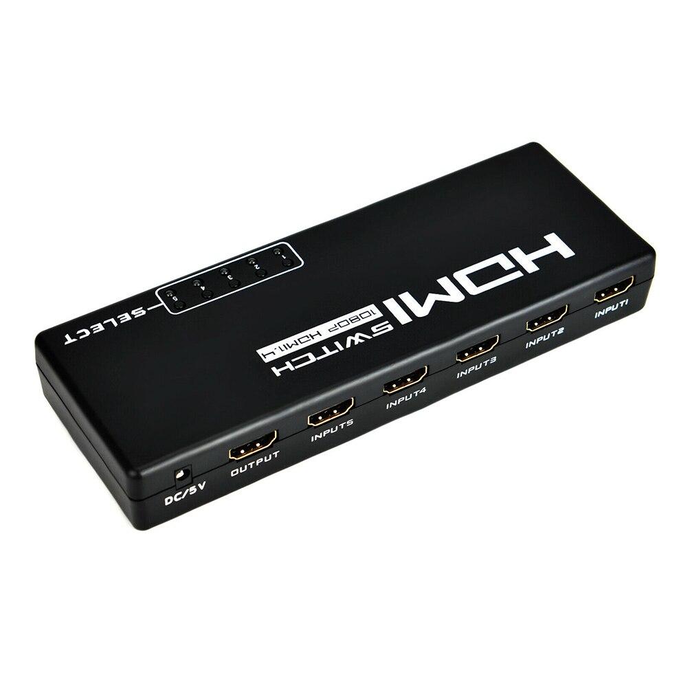 5 входов 1 выход с пультом дистанционного управления высокоскоростной конверсионный сплиттер для HD tv 1080P профессиональные аксессуары адаптер HDMI ABS