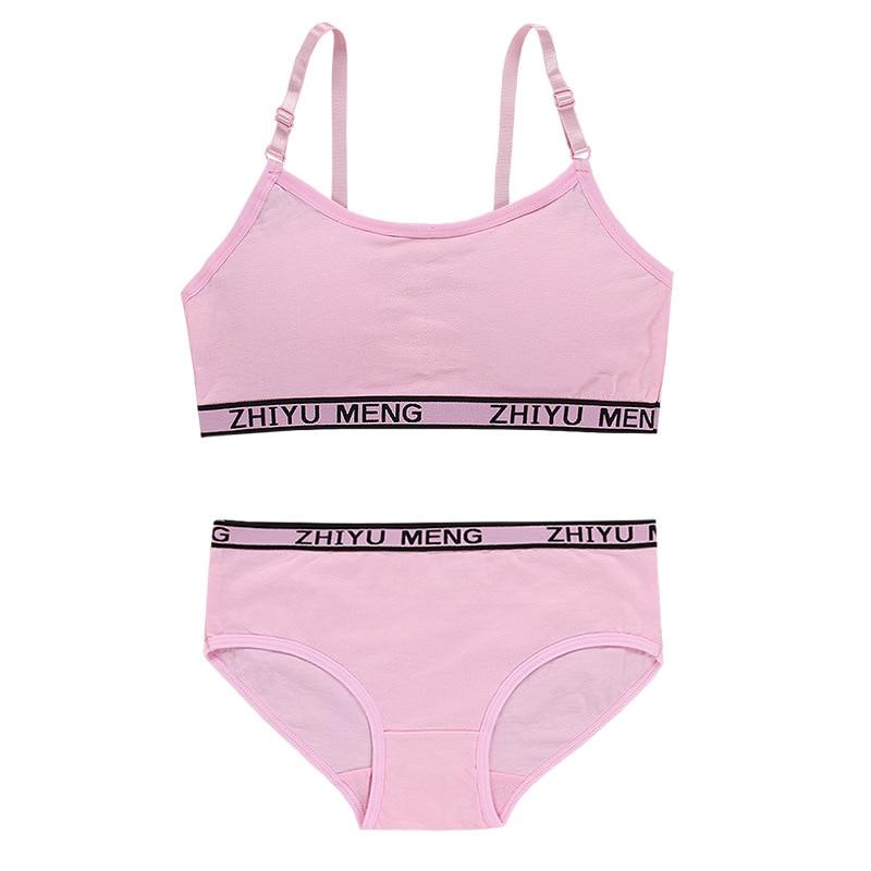 Summer Wireless Sports Cotton Training Bras Young Girls Bra and Panties Sets Kids Lingerie Children Underwear 5
