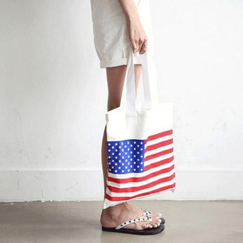 New Reusable Canvas Bag Women Shopping Large Folding Tote Unisex American Flag Printing