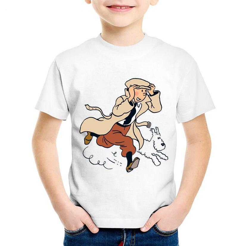 Детские Забавные футболки TINTIN с мультяшным принтом, детские модные летние футболки с коротким рукавом, повседневные топы для мальчиков и де...