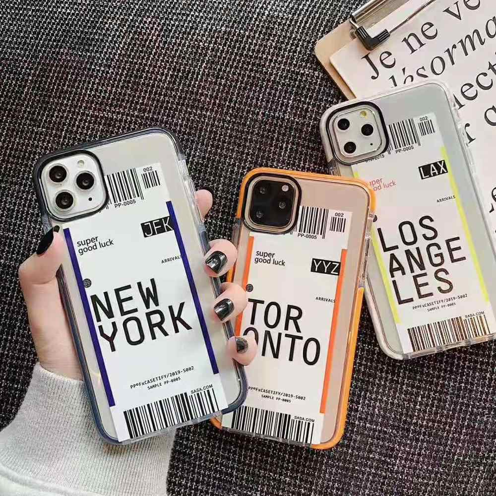 Toronto New York lüks uçak bileti barkod etiket iphone için kılıf 11 Pro XS Max XR 6s 7 8 artı los Angeles 3D renk şeffaf kapak