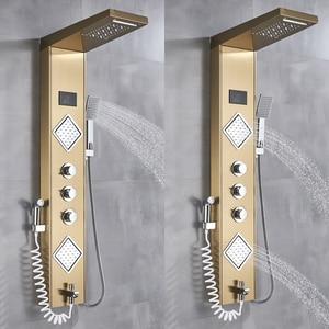 Image 5 - Uythner Luxury Gold/Black Bathroom Shower Faucet LED Shower Panel Column Bathtub Mixer Tap W/Hand Shower Temperature Screen