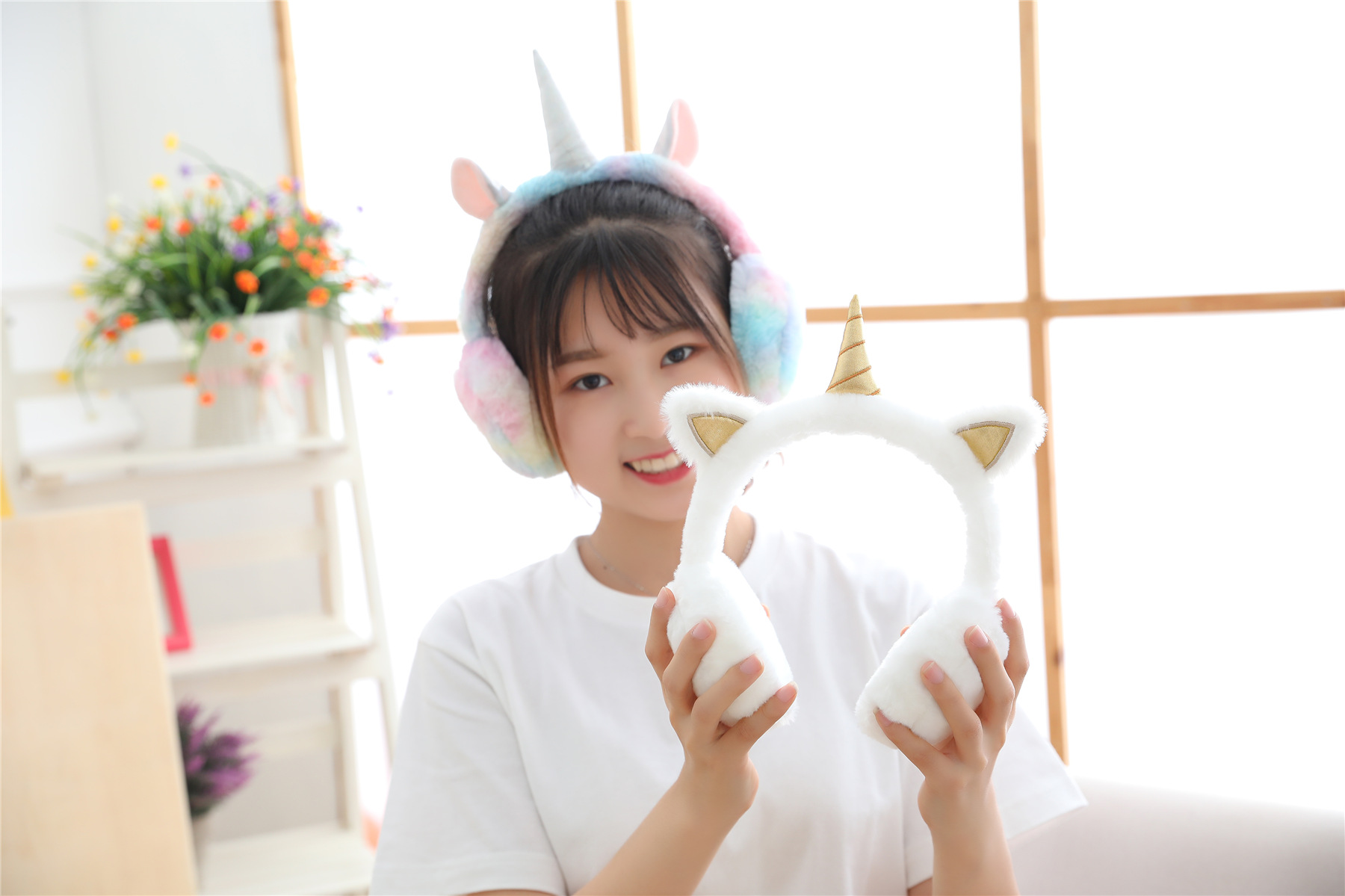 KESYOO Soft Plush Unicorn Earmuffs for Women Kids Girls Foldable Winter Warm Ear Warmer with Adjustable Headband