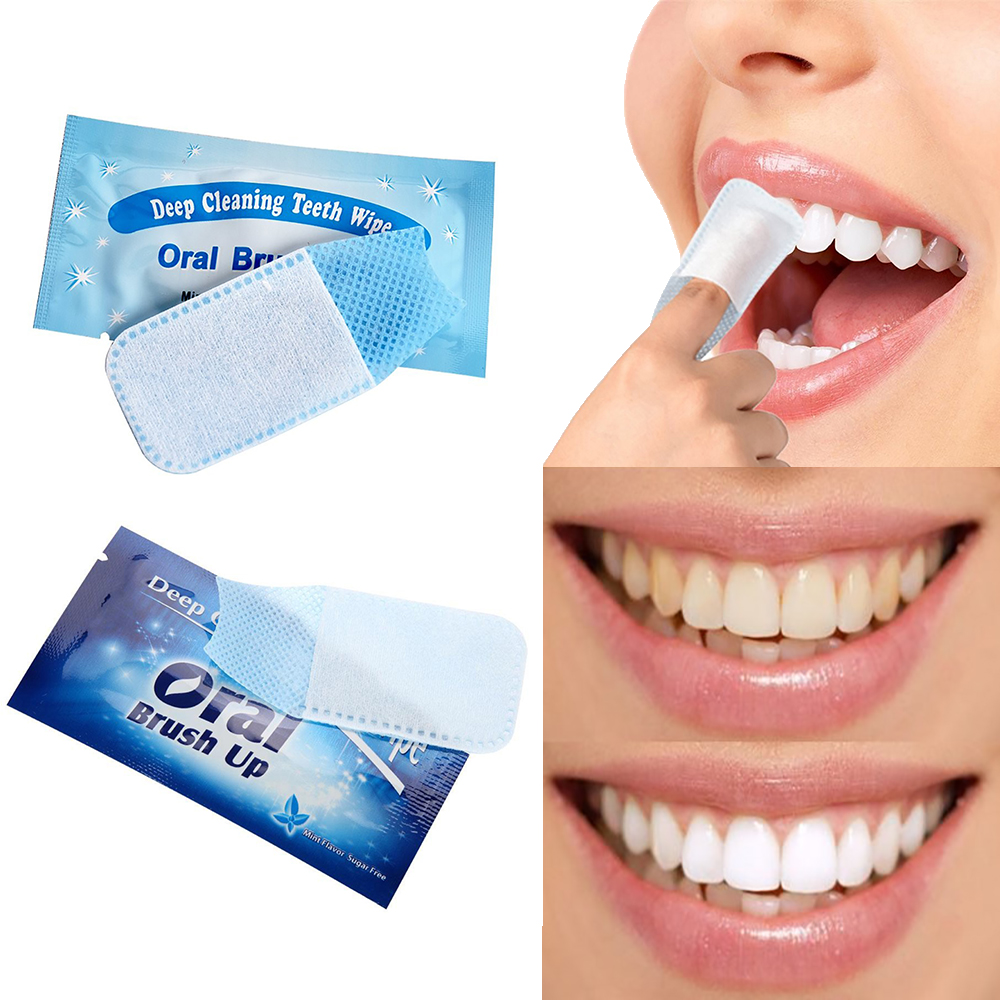 40Pcs Oral Brush Up Wipe Fingertip Tooth Brush Oral Deep Cleaning Wipes Dental White Teeth Oral Hygiene Teeth Whitening