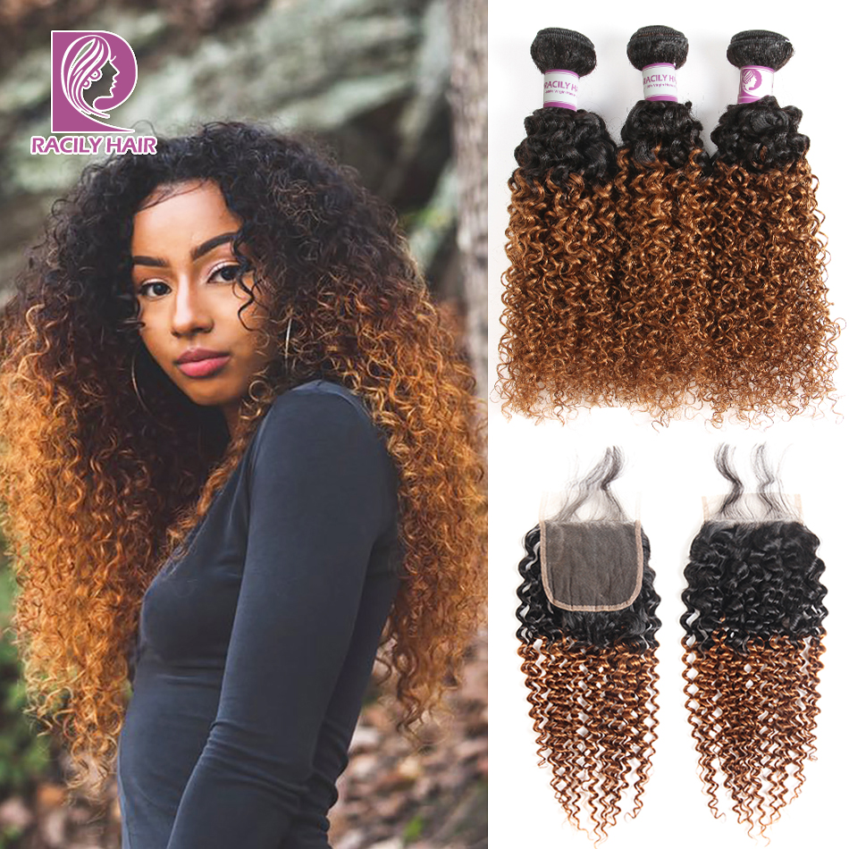 Racily Hair Ombre Bundles With Closure 1B/30 Brazilian Kinky Curly Bundles With Closure Remy Human Hair 3/4 Bundles With Closure