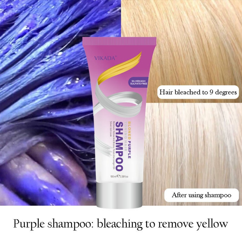 Blond Purple Toning Hair Shampoo Remove Yellow Purple Toner To Silver Gray Blonde Bleached Gray Hair Dye Remove Yellow 100ml NEW