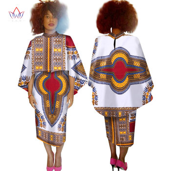 African Dresses for Women 2 Pieces Set Crop Top Cape and Skirt Unqie Coat Maxi Dress Dashiki Plus Size 6XL WY1526