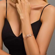 Modyle AAA + cyrkonia modne bransoletki i bransolety różowe złoto srebro kolor kryształu biżuteria dla kobiet pulseras tanie tanio Kobiety STAINLESS STEEL Klasyczny Moda Metal B00382 Napięcie góra Geometryczne Platinum plated