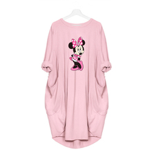 Women Cute Mickey Cartoon Dress Pocket Loose Dresses Vintage Fall Midi Clothes Party Casual Woman Plus Size