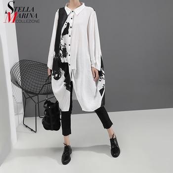 ¡Novedad de 2020! Vestido de manga larga con estampado blanco estilo coreano para mujer, vestido de talla grande con estampado, vestido informal por debajo de la rodilla para mujer 5459
