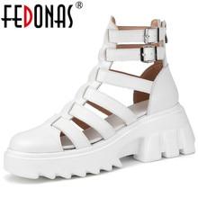 FEDONAS powrót Zipper kobiety letnie buty 2021 moda kobiety czółenka z naturalnej skóry najnowszy Party podstawowe grube obcasy buty kobieta