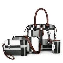 15,85€ Bolsos de lujo a cuadros para mujer bolsos de diseñador Conjunto de 4 piezas