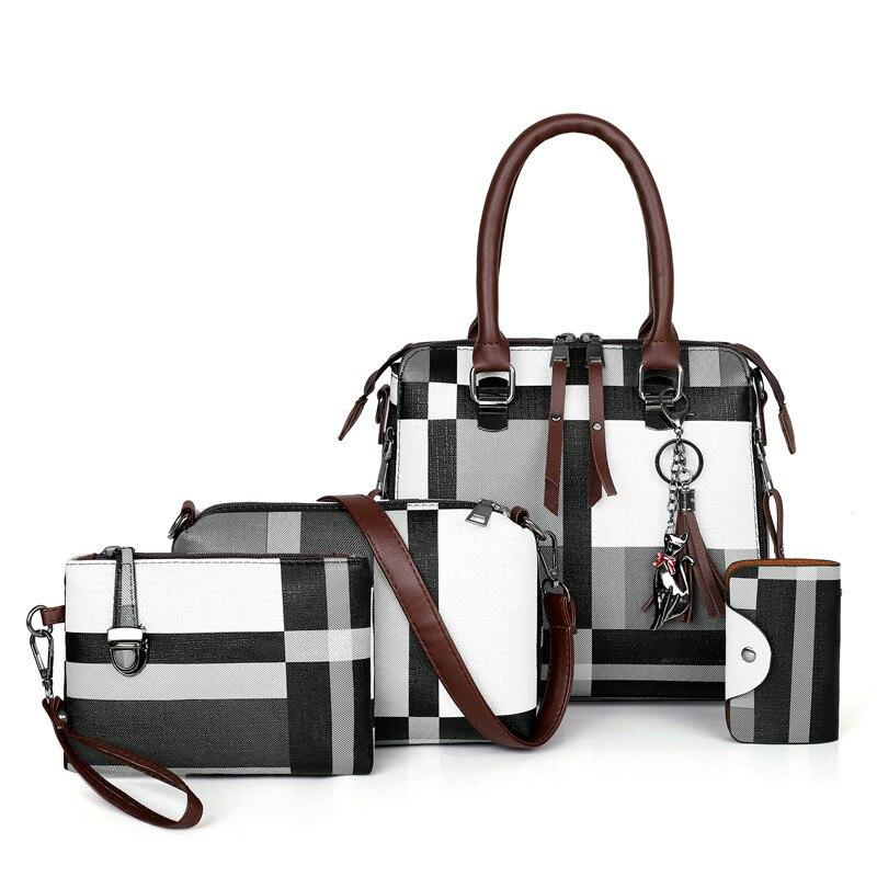 Luxury Handbags Plaid Women Bags Designer 2019 Tassel Purses Handbags Set 4 Pieces Bags Composite Clutch Female Bolsa Feminina(China)