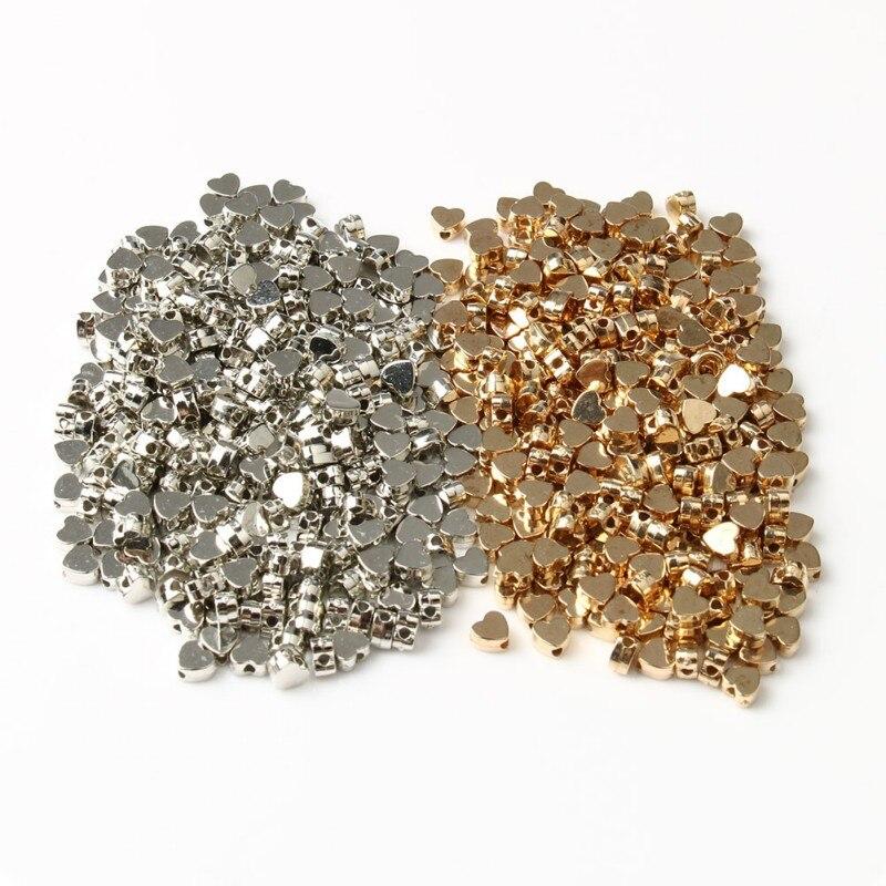 Оптовая продажа позолоченные бусины с сердечками 5*3 мм 6*3 мм свободные бусины для изготовления ювелирных изделий Diy браслет ожерелье аксесс...