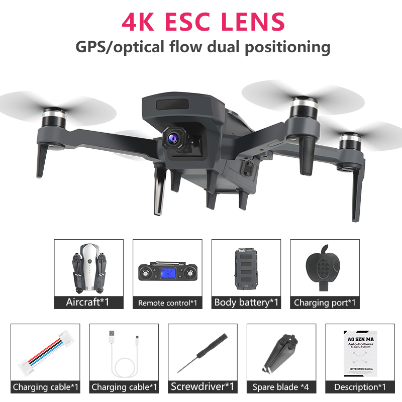 New Drone K20 With Brushless Motor 5G GPS 4K HD Dual Camera Professional Foldable Quadcopter 1800M RC Distance Toy Boy's Gift