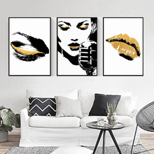 Abstract Gold Eye Lips Black Color Girl Singing Canvas Art Modern Painting Poster Print Living Room Nordic Simple Wall Decor