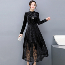 Fall Winter High Quality Large Neck Vintage Maxi Party Dress Office Casual Long Sleeves Plus Size Velet Lace