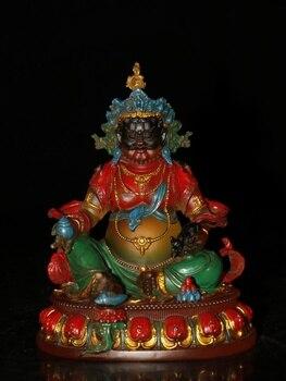 Фото - 6 Tibet Buddhism Temple ancient Colored Glaze Painted Yellow God of Wealth Buddha Statue Treasure King Buddhist temple worship teri temple mercury god of travels and trade