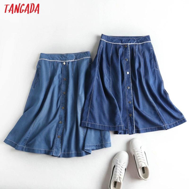 Tangada Women Blue Denim Midi Skirt Faldas Mujer Vintage Office Ladies Elegant Chic Mid Calf Skirts 2P25
