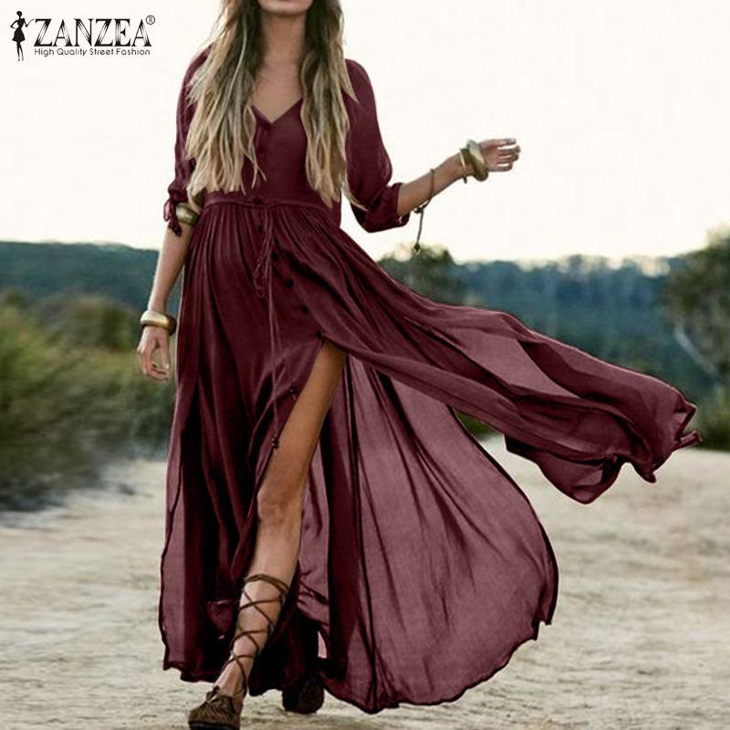 Bohemian Summer Beach Dress ZANZEA Women Half Sleeve Split Hem Long Sundress Casual Solid Maxi Dresses Female Buttons Vestido