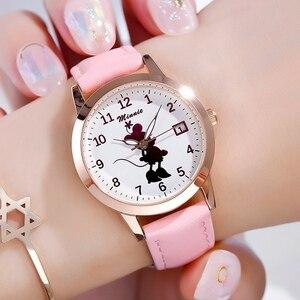 Image 2 - Новые милые кварцевые часы с Минни Маус для девочек, женские часы на ремешке для подростков, подарок на день рождения, женские часы