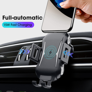 Image 4 - 10W 15W Qi Car Wireless Charger Air Vent Mount Phone Holder Full automatic Fast Charging For Samsung Galaxy S9 S10 iPhone X