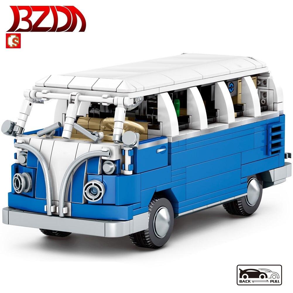 BZDA Car Bricks  City Bus Car Camper Model Building Blocks Educational Assemble Toys for Children Kids Gifts Moc 707PCS
