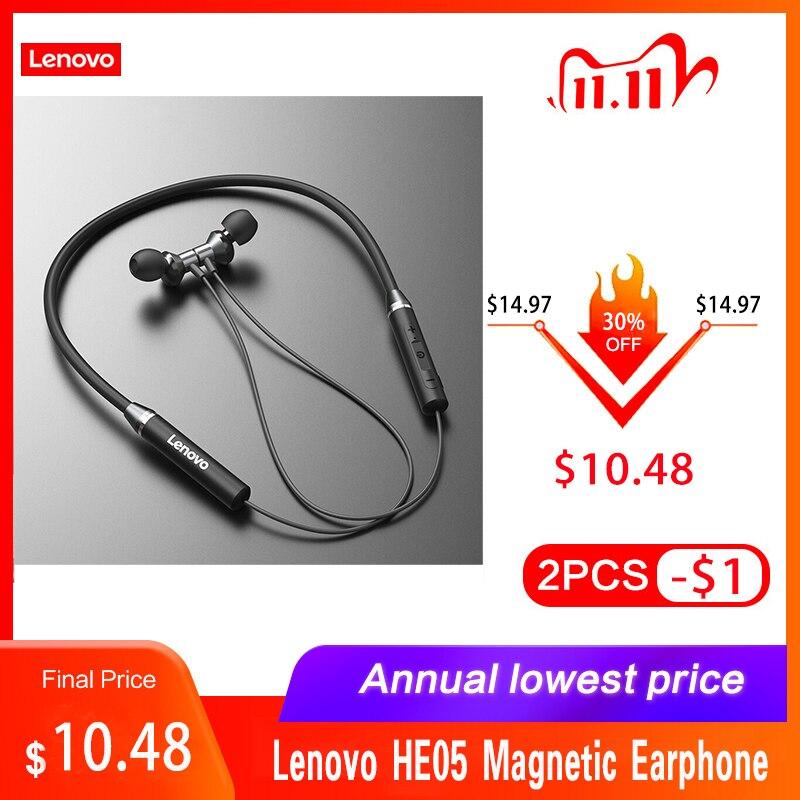 Lenovo HE05 Magnetic Earphone Bluetooth Wireless BT5 0 Sports Earbuds Waterproof Noise Canceling Neckband Headset Earphones