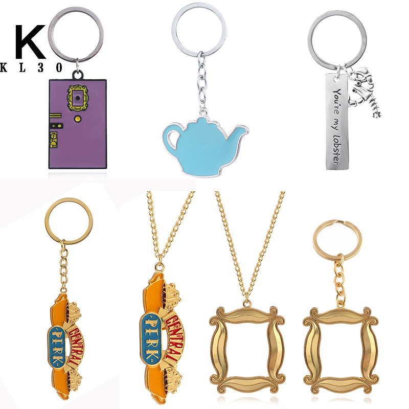 TV Friends Central Perk Coffee Time Keychain figure Monica's Double Side Door Pendants Metal Keyring Good Friends Jewelry Gift image