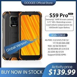 Мировая премьера предварительная продажа 10050 мА/ч, супер Батарея DOOGEE S59 Pro IP68/IP69K 4 + 128 ГБ NFC прочный смартфон 2W старио линейный колонки